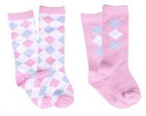Babysok Check licht roze(set van 2)